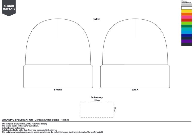 Cordova Custom Knitted Beanie branding template