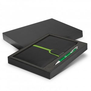Andorra Notebook and Pen Gift Set Bright Green