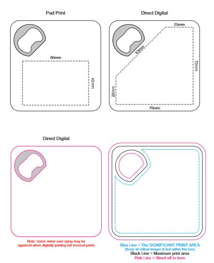 Coaster Bottle Opener branding templatre