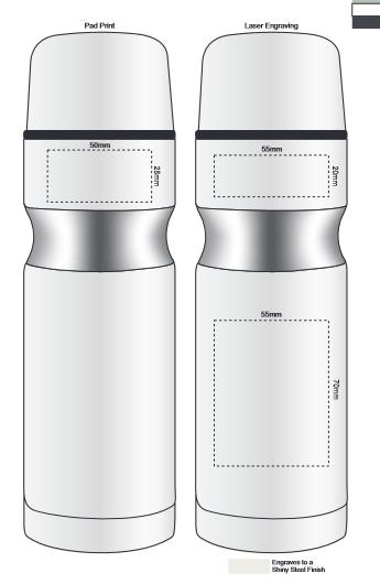 Contour Vacuum Flask branding template