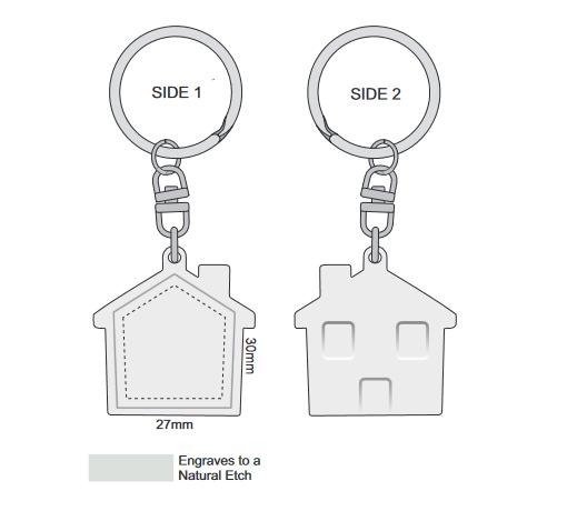House Metal Key Ring branding template