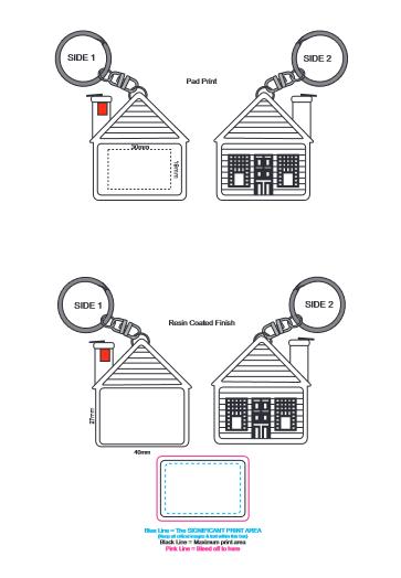 House Tape Measure Key Ring branding template