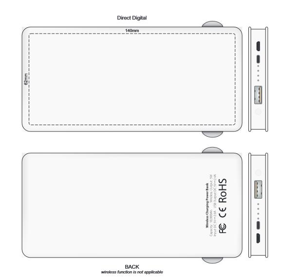 Jarvis 10k Wireless Charging Power Bank branding template 1