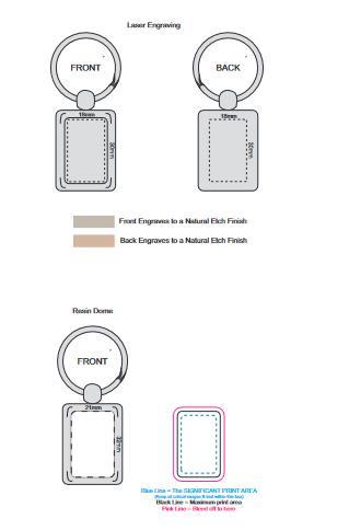 Rectangular Metal Key Ring branding template