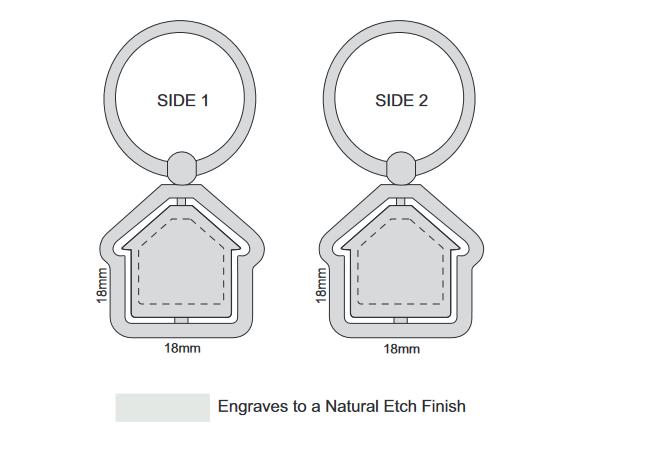 Spinning House Metal Key Ring branding template