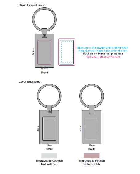 Wave Metal Key Ring branding template