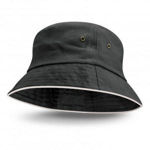 Bondi Bucket Hat White Sandwich Trim black
