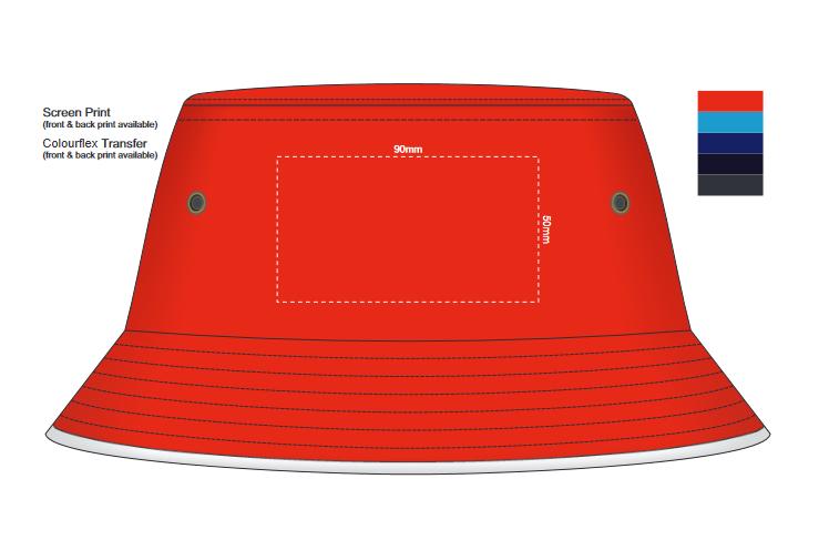 Bondi Bucket Hat White Sandwich Trim branding template 1