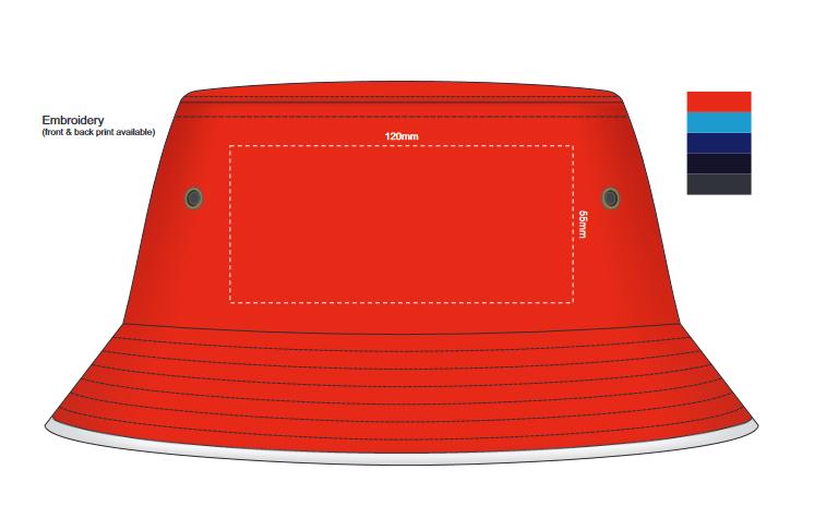 Bondi Bucket Hat White Sandwich Trim branding template 2