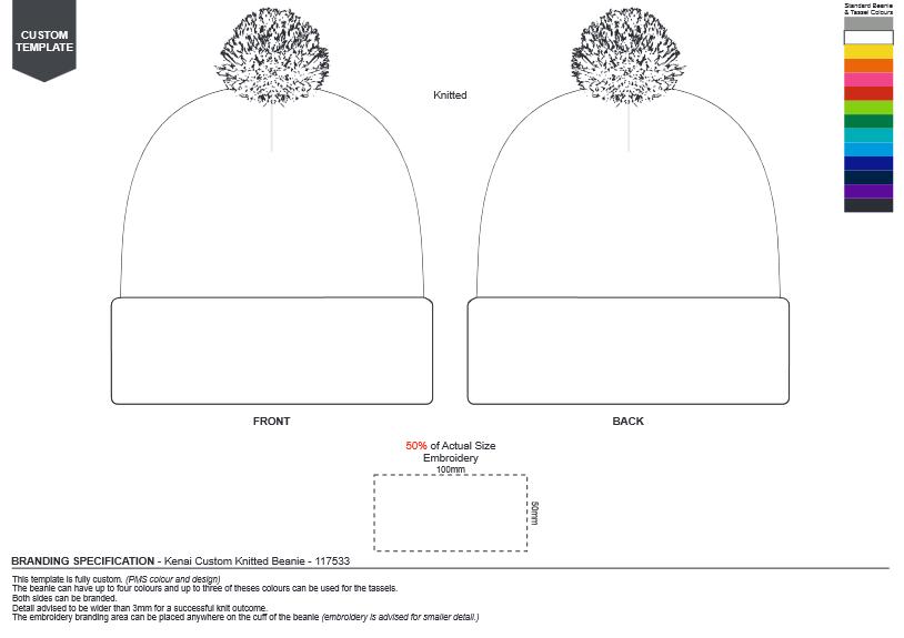 Kenai Custom Knitted Beanie branding template
