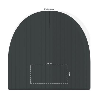 Nebraska Heather Cable Knit Beanie branding template