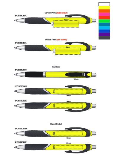 Jet Pen Coloured Barrel branding template